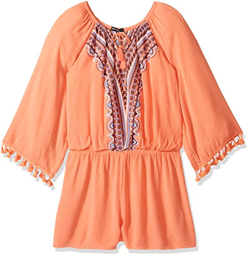 My Michelle Girls' Big Long Sleeve Romper with Embroidered Front, Coral XL (My Clothes Michelle)