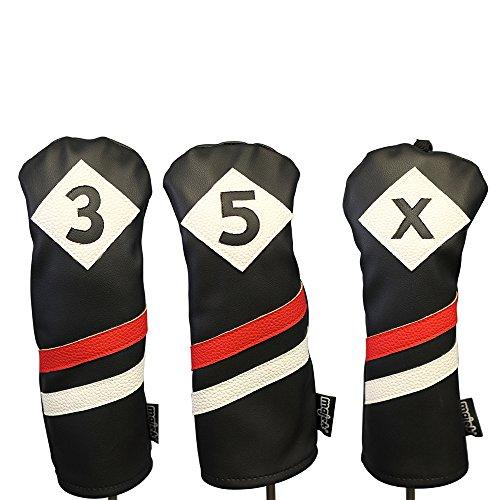 魅力的驚いた隣接するMajekレトロゴルフヘッドカバー3ブラックレッドandホワイトヴィンテージレザースタイル3 5 xフェアウェイウッドヘッドカバークラシックLook