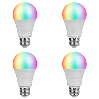 LED WiFi Smart Light Bulb, E26 WiFi Light Bulbs Compatible with Alexa Google Home and IFTTT, RGBCW Color Changing, Cool White and Warm White Dimmable, No Hub Required, A19 60W Equivalent 4 Pack
