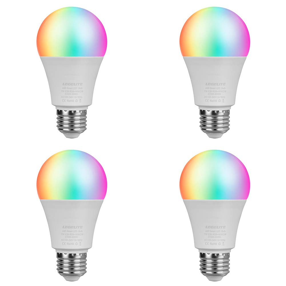 LED WiFi Smart Light Bulb, E26 WiFi Light Bulbs Compatible with Alexa Google Home and IFTTT, RGBCW Color Changing, Cool White and Warm White Dimmable, No Hub Required, A19 60W Equivalent (4 Pack)