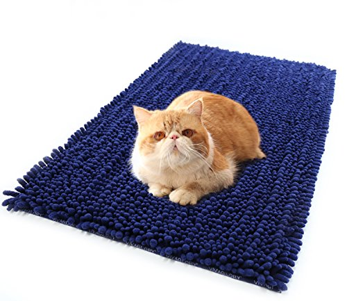 Cat Litter Mat, 35½ x 23¾inch 3D Design Pet Litter Mat Rug/Shag Rug for Kitty Puppy Small Animals, Soft on Paws, Super Absorbent and Waterproof, Best Scatter Control, Navy