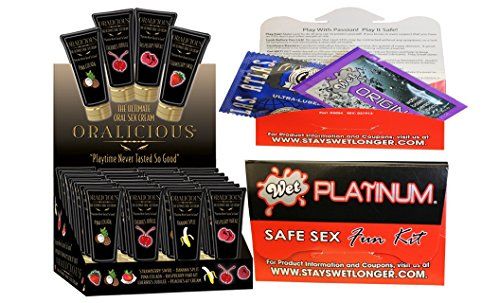 Bundle package 1 Oralicious Display (24/DP) 4 Of Each AND 1 Wet Safe Sex Kit with Platinum Silicone Lubricant by Hott Products Unlimited
