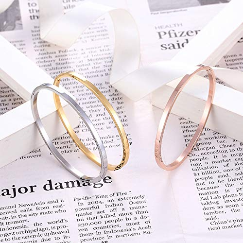 Tequila DS Bracelets /& Bangles New Stainless Steel Round Bangles/& Bangles Three Colors Trendy Charm Bracelets Jewelry for Women Love Wedding Brand Gifts
