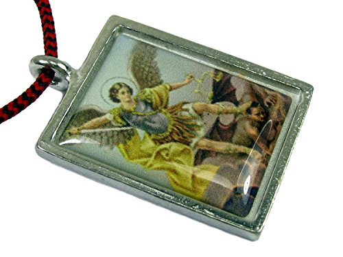 Angel Pendant Enameled (Saint Michael the Archangel Full Color Enameled Pendant w/ Mini Cross on Red / Black Corded Necklace)