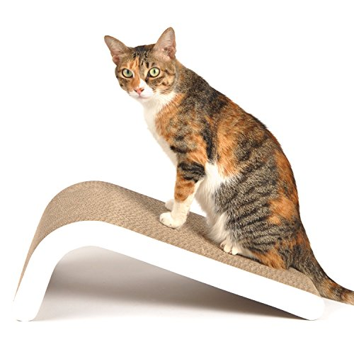 4CLAWS Incline Scratching Pad (White) - Basics Collection Cat Scratcher ()