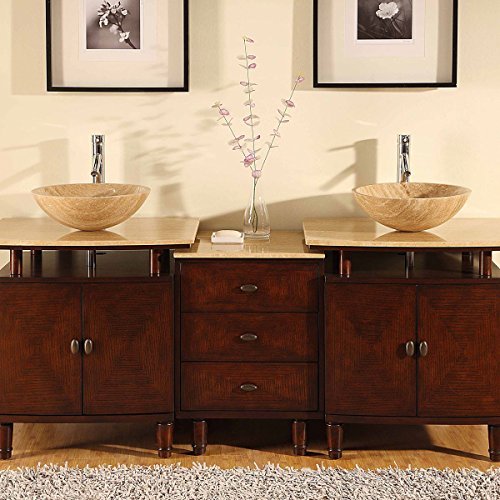 Silkroad Exclusive Travertine Stone Double Sink Modern Vessel Bowl Bathroom Vanity with Cabinet, 73-Inch