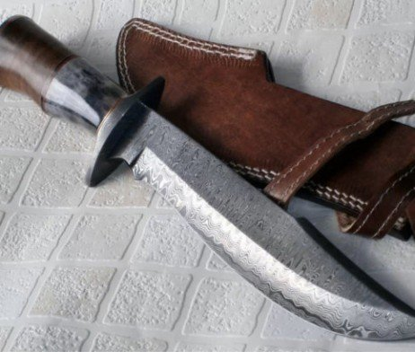 Handmade Damascus Steel 15.25 Inches Bowie Knife - Solid Marindi Wood/Bone Handle(Case/Knife may vary slightly))