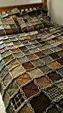 Twin size Patchwork Rag Quilt, Primitive Homespun fabric, Made to Order, Reversible