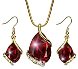 Akvode Women's Red Teardrop Swarovski Crystal Earrings Pendant Necklace 18K Gold Plated Two Pieces Jewelry Sets Round White Sapphire(Red)