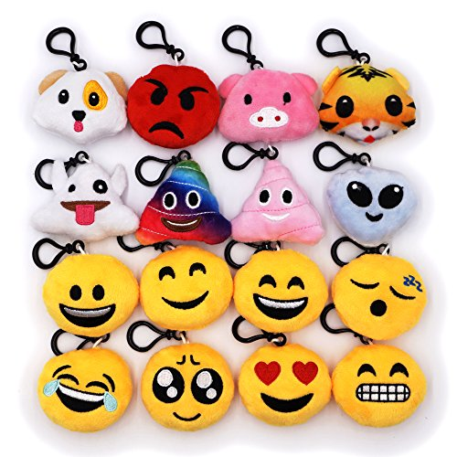 Emoji Keychain – Mini Cute Emoji Keychain for Party Decoration, Emoticon Backpack Clips, Goodie Bag Stuffers Cotton Fillers Novelty Gifts Plush Toys Prizes for Kids - Emoticon Usa