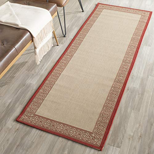 Safavieh Courtyard Collection CY2099-3701 Natural and Red Indoor/ Outdoor Runner (2'3