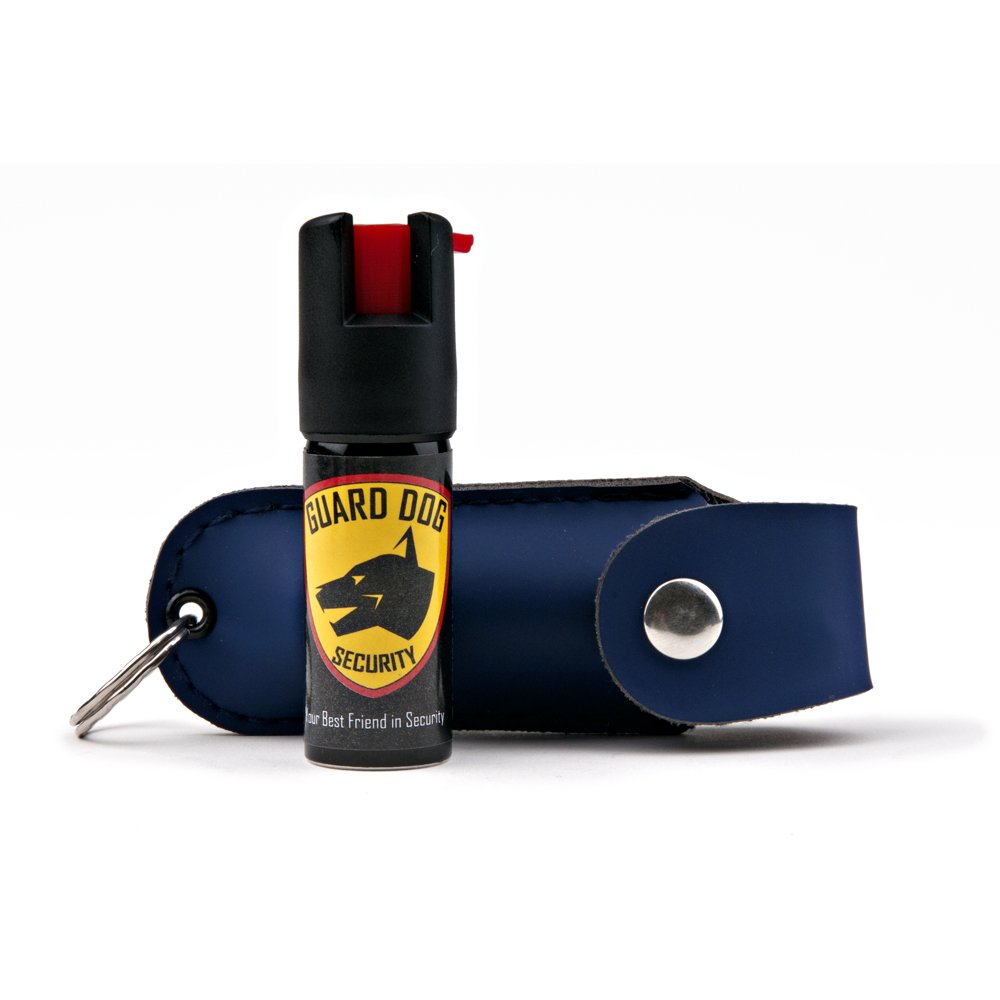 Guard Dog Security Pepper Spray Keychain, Red Hot Self Defense Spray with UV Dye - Choose a Leather Holster Color, Blue