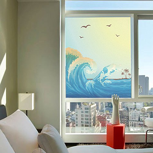 Yl Stained Glass Decorative Window Film  Premium Static Cling No Glue Stained Glass Decorative Window Film  Vinyl Scrub Privacy Window Film  45X60cm  Waves