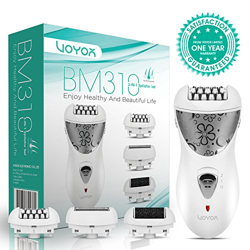 VOYOR Hair Removal for Women Facial Epilator Electric Razor Cordless Callus Remover 3-in-1 Hair Remover Set Rechargeable Lady Shaver BM310