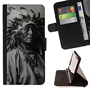 For HTC ONE A9 Indian Photograph Feathers Old Man Native Style PU Leather Case Wallet Flip Stand Flap Closure Cover