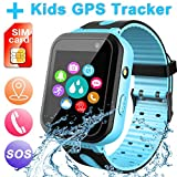 Waterproof Smart Watch for Kids, Digital Wrist Watch Phone with LBS/GPS Tracker SOS Alarm Clock Games Voice Chat, Smartwatch for Girls Boys Age 3-12 Electronic Learning Toys Xmas Holiday (Blue)