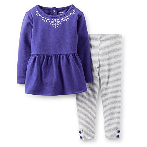 Carter's Baby Girls Embellished Ruffle Tunic Top & Striped Pants Set (3 Months, (Embellished Ruffle)