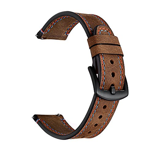 Kartice Compatible Samsung Gear S3 Classic/Frontier Smartwatch Bands, 22 mm Vintage Crazy Horse Genuine Leather Strap Replacement Buckle Strap Double Stitching Wrist Band & Sport & Edition(Brown)