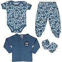Kit 4 Peças Bebê, TipTop, Azul, M