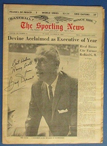 Bing Devine Autographed/Signed The Sporting News 1964 Newspaper Magazine - JSA Certified - MLB Autographed Miscellaneous Items