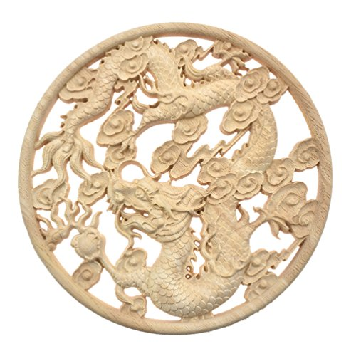 Qlychee Dragon Wood Applique Round Unpainted Rubber Wood Furniture Onlay Decoration 1Pc