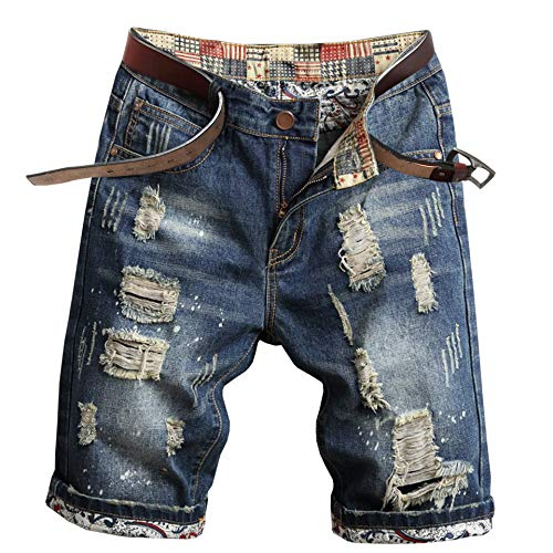 - Welity Men's Ripped Denim Shorts, Fashion Straight Fit Jeans Shorts with Hole & Raw Hem for Men, Size 38/Tag 40, Blue