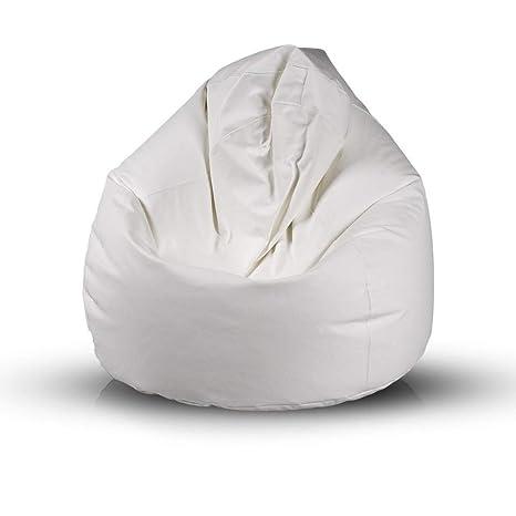 Bepouf Poltrona Sacco Puf Pouf Dimensioni 140x100 Ecopelle Pieno (Bianco,  Giga)