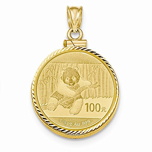 ICE CARATS 14kt Yellow Gold 1/4 Oz Mounted Panda Coin Screw Top Bezel Necklace Pendant Charm Holders/bezel W/coin Fine Jewelry Ideal Gifts For Women Gift Set From (Mounted Panda Coin)