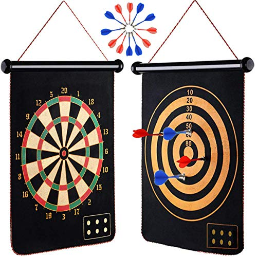 ZS Yangmei Rollup Magnetic Dart Board for Kids and Adults with 12pcs Safe Darts, Best Toys Gift for Age 4 5 6 7 8 9 10 11 12 Year Old Boys