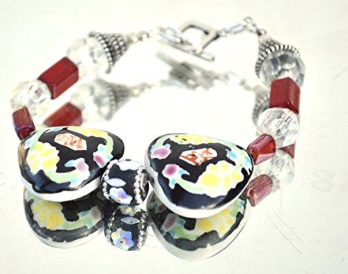 Avant Garde Floral Handmade Lamp work Red Antique WW2 Czech Glass Beads heart Ceramic Chinese Cloisonné Bracelet