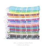 Havluland (SET of 6) 100% Turkish Cotton Bath Beach Hammam Towel Peshtemal Throw Foua Blanket Absorbent Set