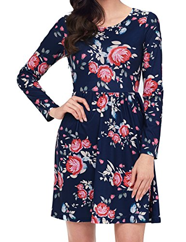 LAVENCHY Women Summer Floral Spring Casual Elegant Cute Swing Pleated A Line Skater Tunic Long Sleeve T-Shirt Dress for Junior Navy Blue,L