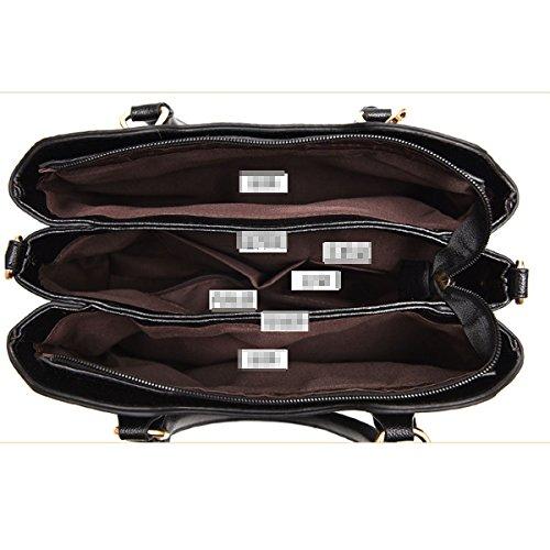 Señora Fashion Stripe Bolso De Cuero De La PU Satchel Top Handle Bag Shoulder Bag Para Mujeres Multicolor Black