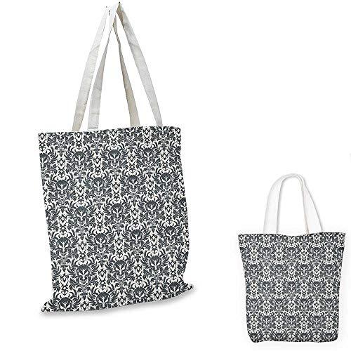 (Gothic shopping bag Damask Inspired Ornamental Flourishes Abstract Floral Skull Motif Royal Foliage foldable shopping bag Grey White. 13