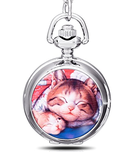 Infinite U Lazy Cat/Kitty/Kitten Pendant with Mirror Small Quartz Pocket Watch Silver Long Necklace with Gift Bag for Kid/Women