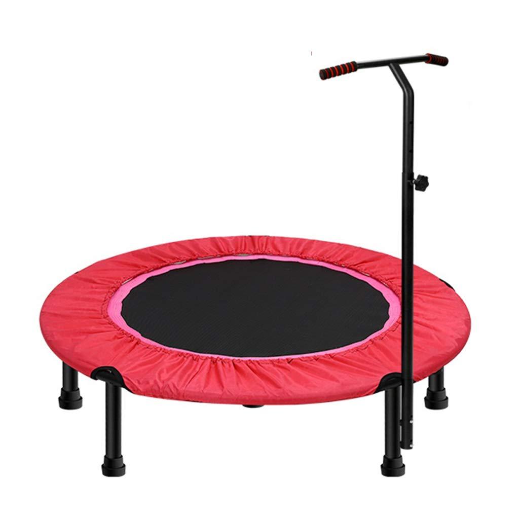 大人または子供のための40の″の運動トランポリン、調節可能なT棒安定性のハンドルが付いている小型適性トランポリンジム/家のための好気性の警備員のトランポリン、最高。赤で200kgを積む   B07SYPQYPZ