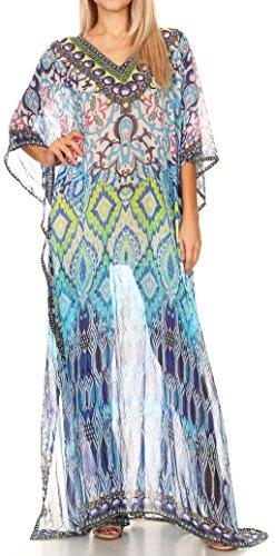 (Sakkas P4 - LongKaftan Wilder Printed Design Long Semi Sheer Caftan Dress/Cover Up - 17143-BlackTurquoise - OS)