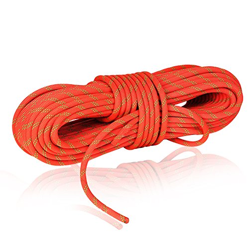 NewDoar 24KN 10mm (3/8in) Rock Climbing Rope High Strength Accessory Cord Safety CE for Outdoor Survival, Hiking, Mountaineering (50ft Orange) … ()