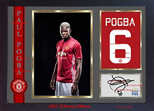 S&E DESING Paul Pogba Signed Autograph Manchester United Photo Framed