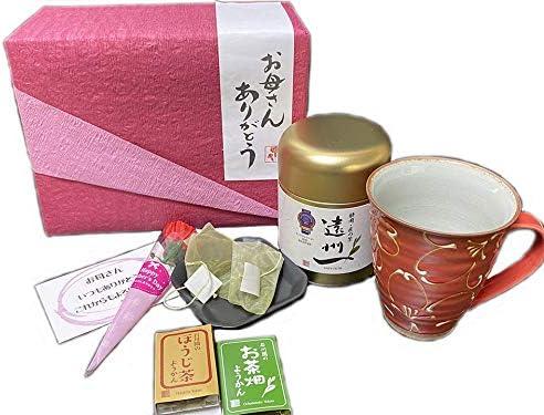 母の日プレゼント・赤いマグカップと遠州一新茶ティーバッグ、お茶羊羹、焙じ茶羊羹の セット(母の日プレゼント8)