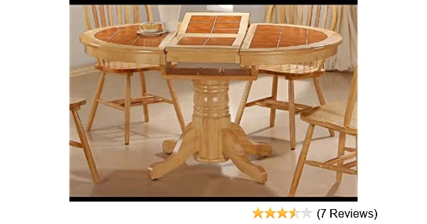 Amazon Com Round Tile Top Natural Dining Room Table Butterfly Leaf