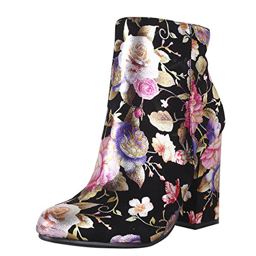 Bamboo Womens Almond Toe Shimmer Flower Floral Print Chunky Thick High Heel Ankle Booties Boot 7 Black