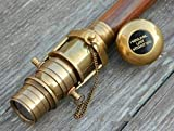 Vintage 3 Fold Hidden Spy Glass Telescope Brown Wooden Nautical Walking Stick