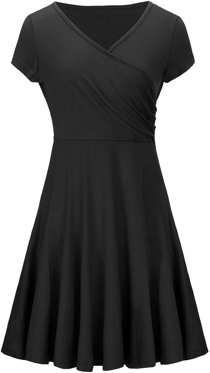 OYSOHE Damen Kleid, V-Ausschnitt Kurzarm Solide Mode Frauen A-Line