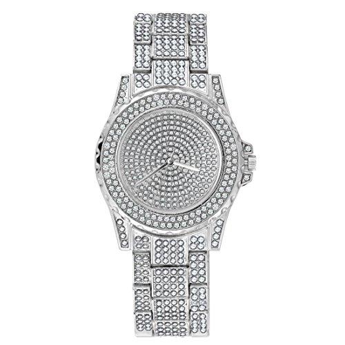 SINOBI Iced Out Watch Diamond Quartz Geneva Women Men Watches (Watch Round Silver)