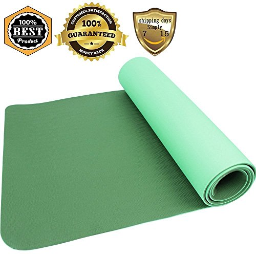 The heat resistant green girl's yoga mat is laid at any premises to let the girl exercise comfortable flexible material that withstands any destructive circumstances