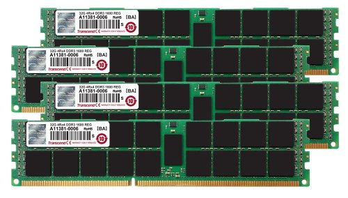 Transcend 128GB (32GB x 4 Kit) JetMemory DDR3- 1600 ECC Registered DIMM 4Rx4 For Mac Pro Late 2013 (TS128GJMA534P)