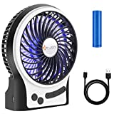 quiet mini desk fan - Security Personal Table Fan, USB or Battery Operated Desk Fans Small Quiet, with LED Lights, 3 Speeds, 2-8Hours Working Time,  Portable Mini Desktop Fan for Home, Office, Travel