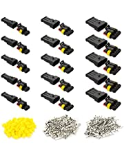 15 Kit Automobile Waterproof Electrical Wire Connector Terminal, Plug for Auto Motorcycle Scooter Truck Boat, 2 Pin × 5 Kit, 3 Pin × 5 Kit, 4 Pin × 5 Kit
