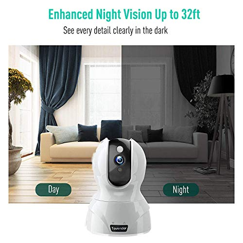Tovendor 1080P Security Home Camera, WiFi Camera Indoor Surveillance System, IP Camera Baby Monitor with Motion Detection Tracking Night Vision